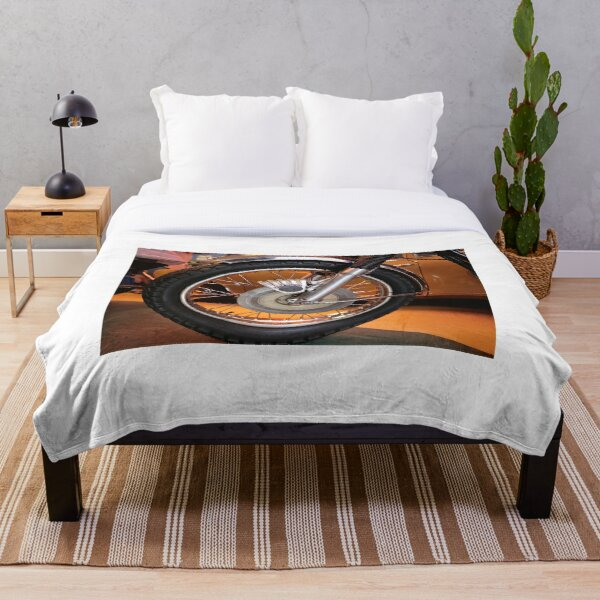 classic motorcycle wheel with spokes .. beautiful design Throw Blanket
