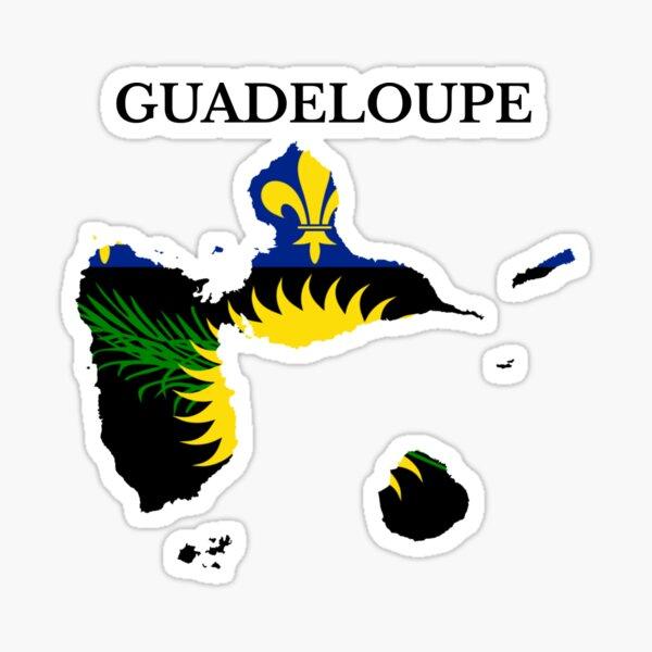 Drapeau de la carte de la Guadeloupe, France, région française Sticker