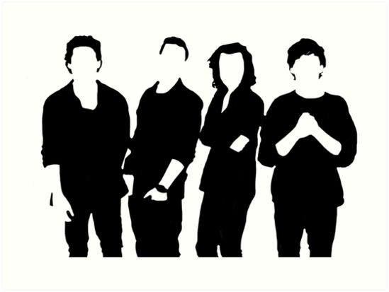 """One Direction Silhouette Black and White"" Art Prints by ..."