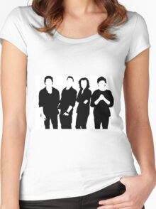 One Direction Silhouette Black and White Women's Fitted Scoop T-Shirt