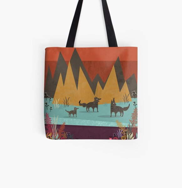 Wolves All Over Print Tote Bag