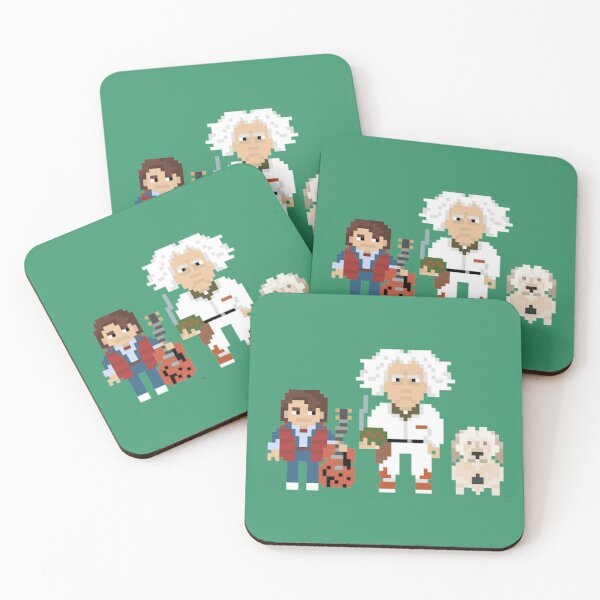 Doc and Marty Pixel Adventures Coasters (Set of 4)