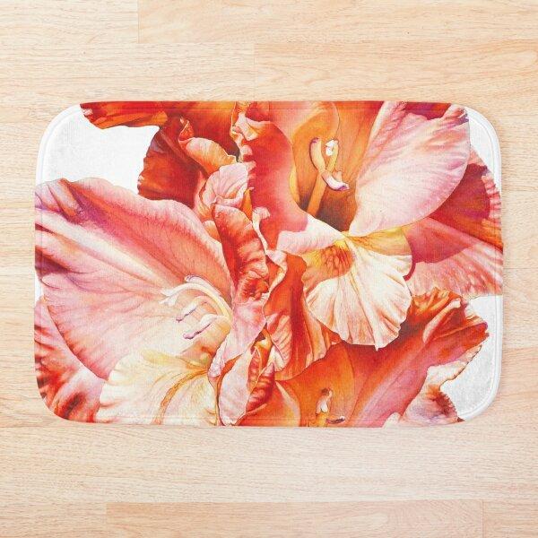 Glorious Gladiolas Watercolor Painting Bath Mat