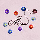 Red Heart Ladybug Mom Flowers Card by Chere Lei
