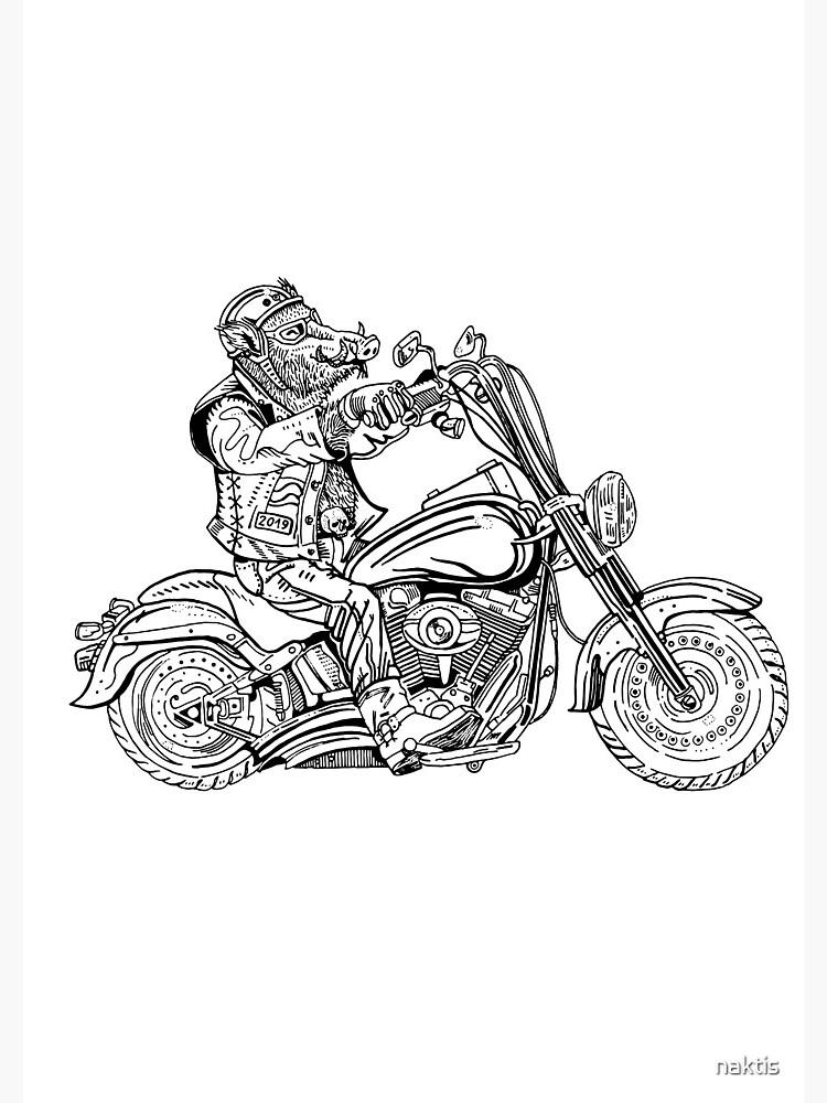 Boar on motorbike. by naktis