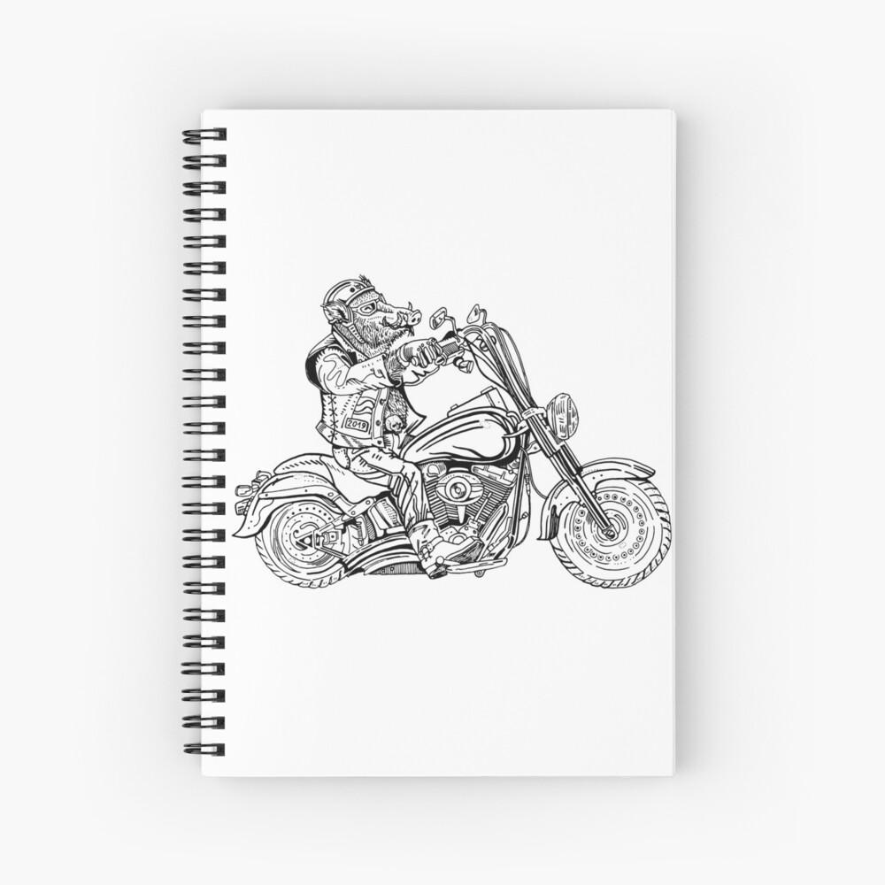 Boar on motorbike. Spiral Notebook