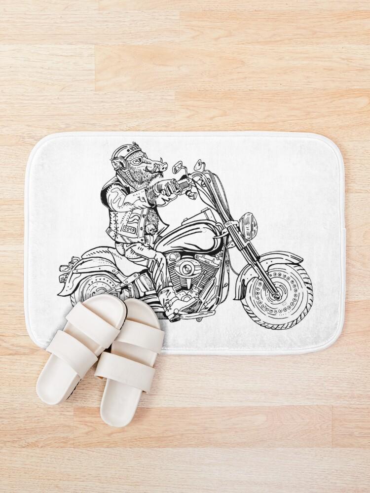Alternate view of Boar on motorbike. Bath Mat