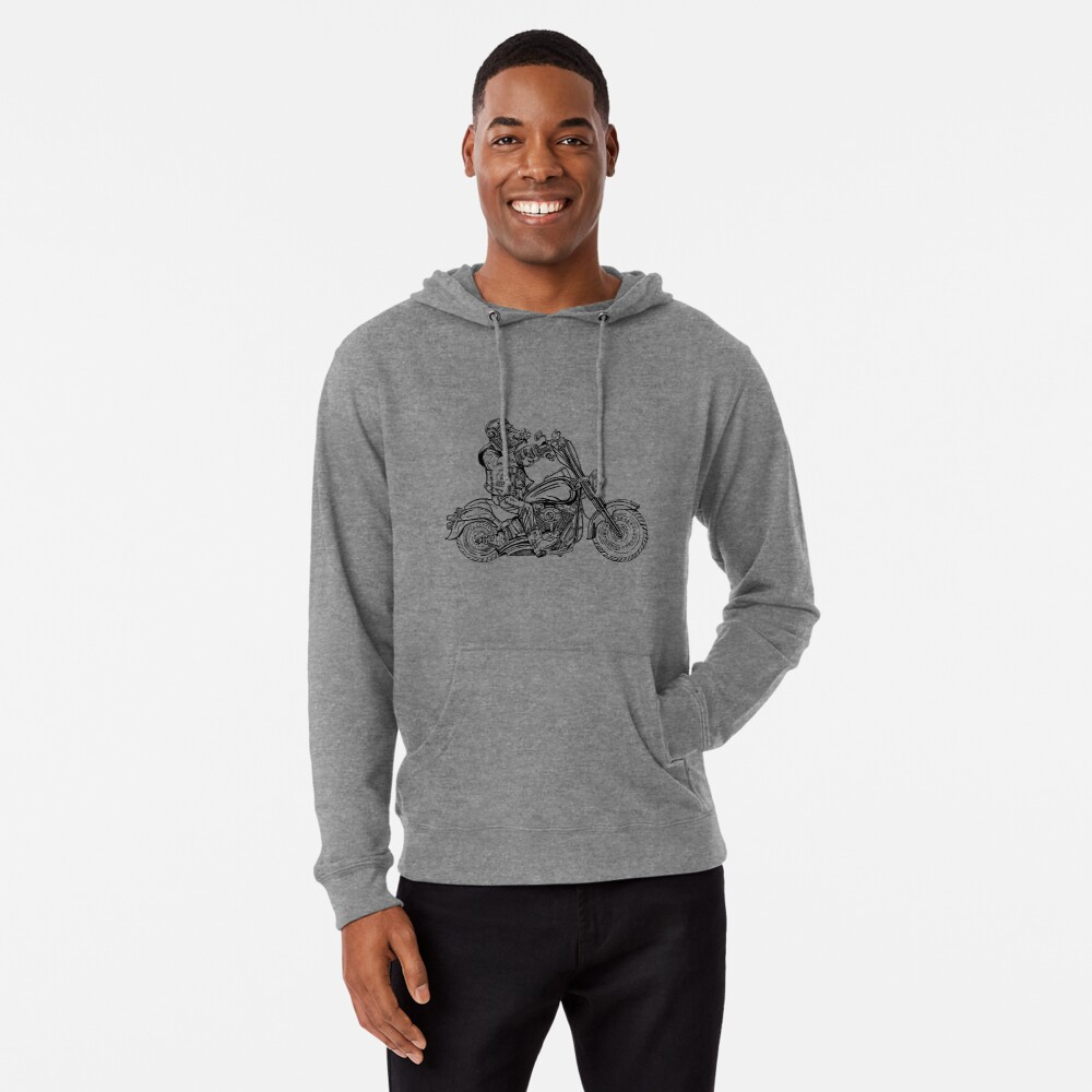 Boar on motorbike. Lightweight Hoodie