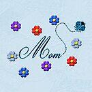 Blue Heart Ladybug Mom Flowers Card by Chere Lei