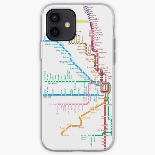 Chicago Trains Map iPhone Soft Case