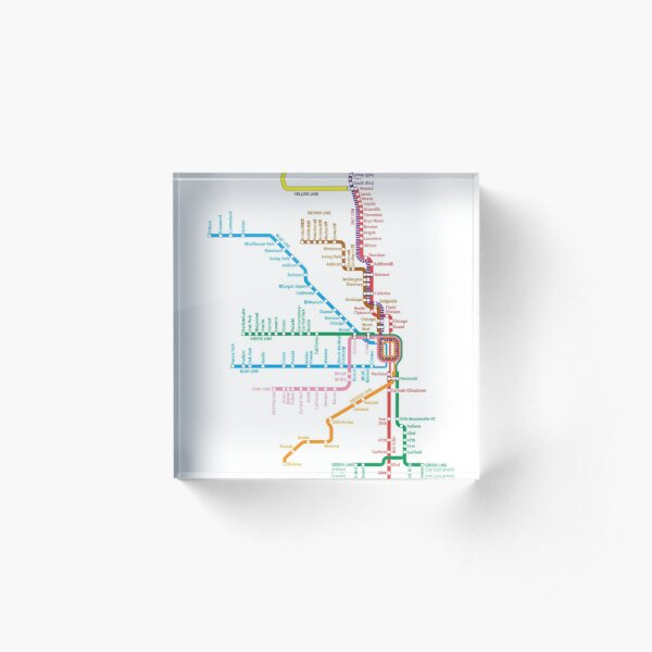 Chicago Trains Map Acrylic Block