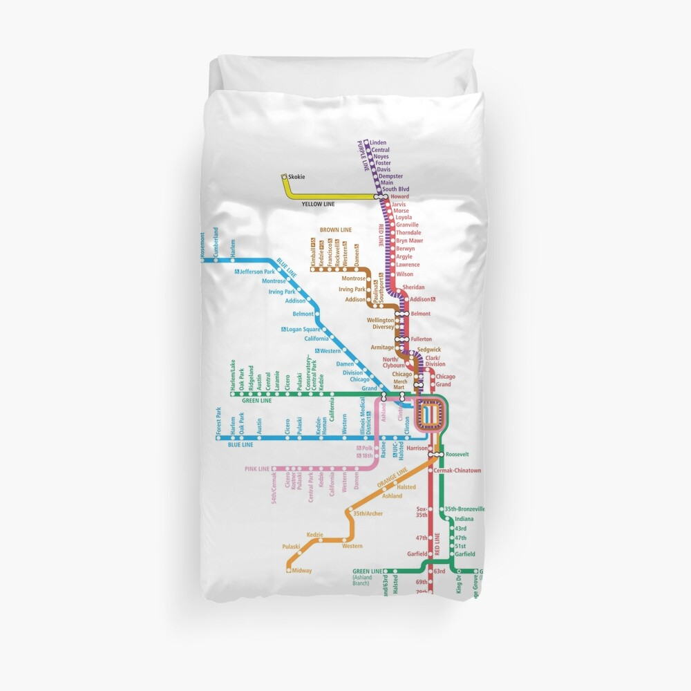 Chicago Trains Map Duvet Cover