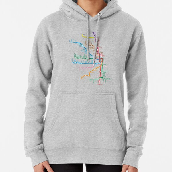 Chicago Trains Map Pullover Hoodie