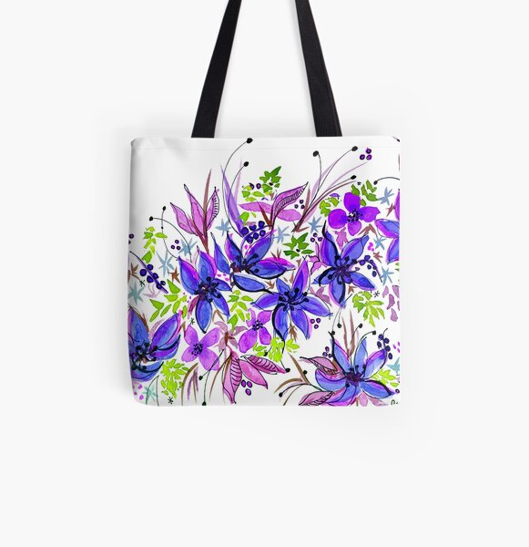Hawaii Sings Blue with Flowers All Over Print Tote Bag