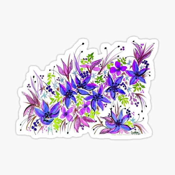 Hawaii Sings Blue with Flowers Sticker