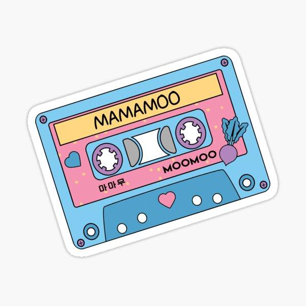 MAMAMOO Moomoo CUTE Retro Cassette Cassette Bleu Rose Sticker