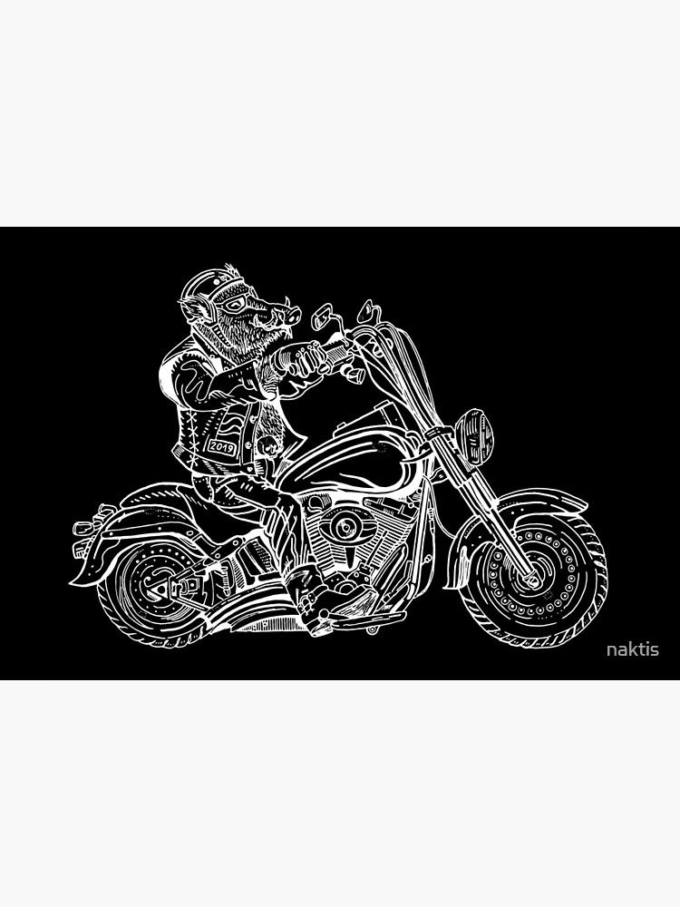 Boar on motorbike white on black by naktis