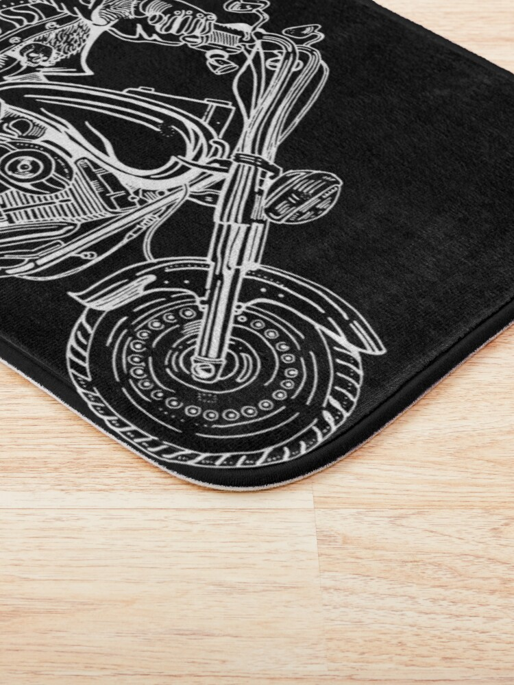 Alternate view of Boar on motorbike white on black Bath Mat