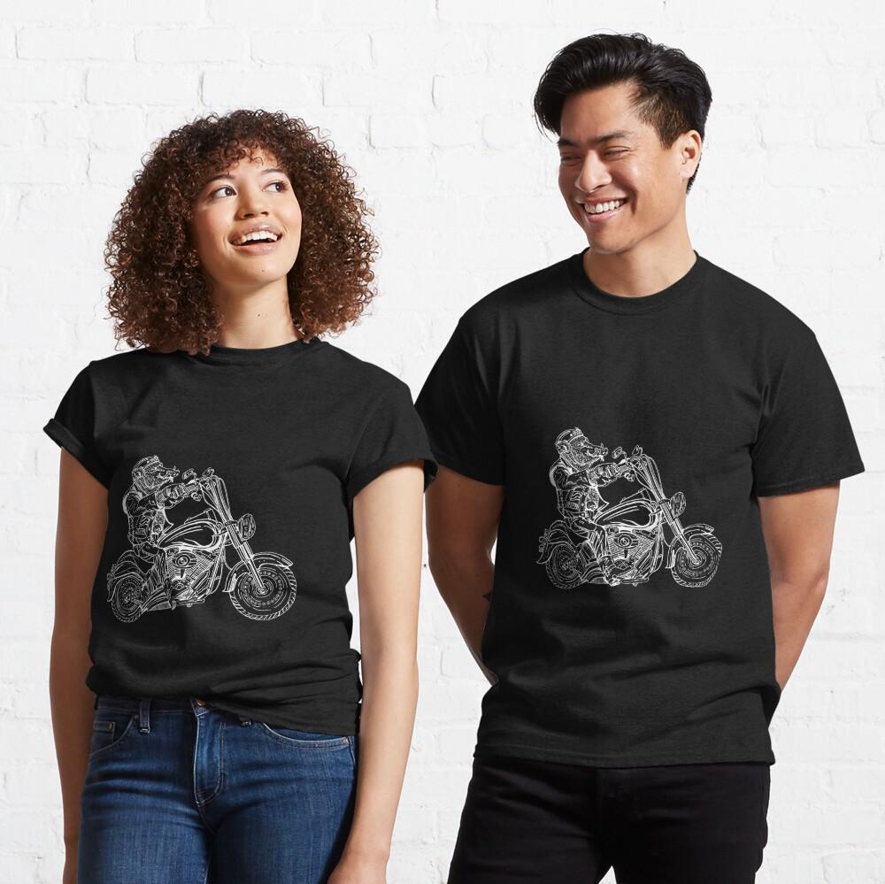 Boar on motorbike white on black Classic T-Shirt