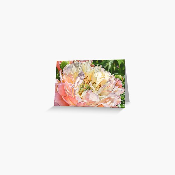 Glowing Peony Watercolor Painting Greeting Card