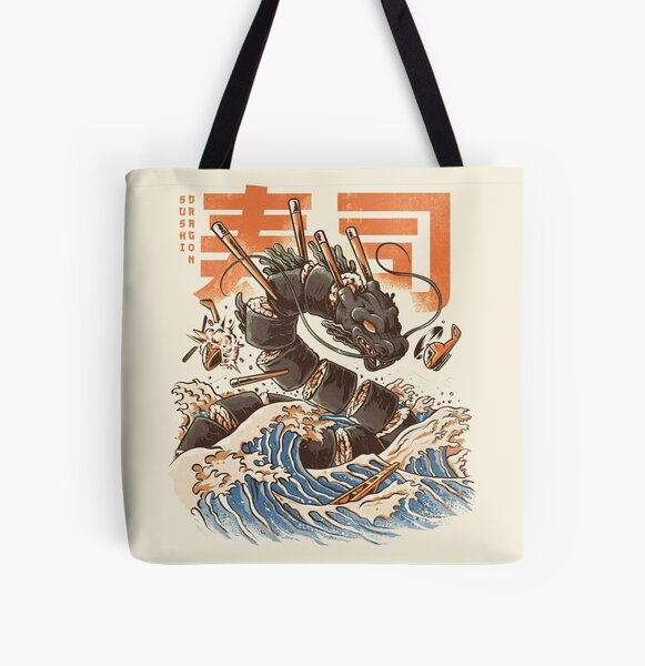 Great Sushi Dragon  All Over Print Tote Bag