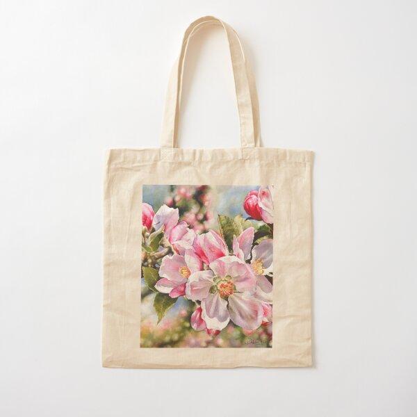 Springtime Blossoms Watercolor Painting Cotton Tote Bag