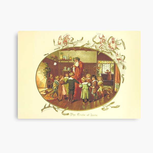 Vintage Christmas Card from The Coming of Father Christmas (1894) Canvas Print
