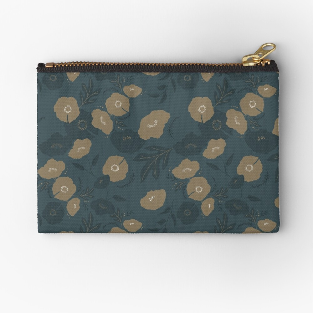 Oxford Blue and Gold poppy flowers pattern Zipper Pouch