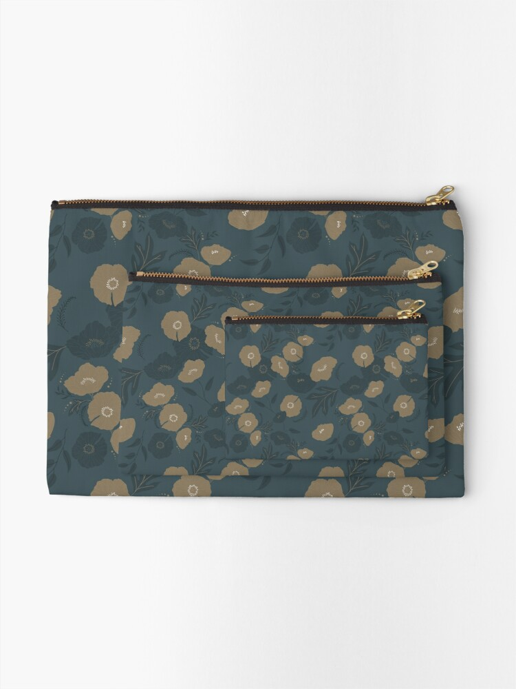 Alternate view of Oxford Blue and Gold poppy flowers pattern Zipper Pouch
