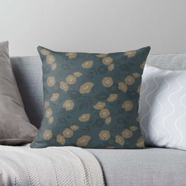 Oxford Blue and Gold poppy flowers pattern Throw Pillow