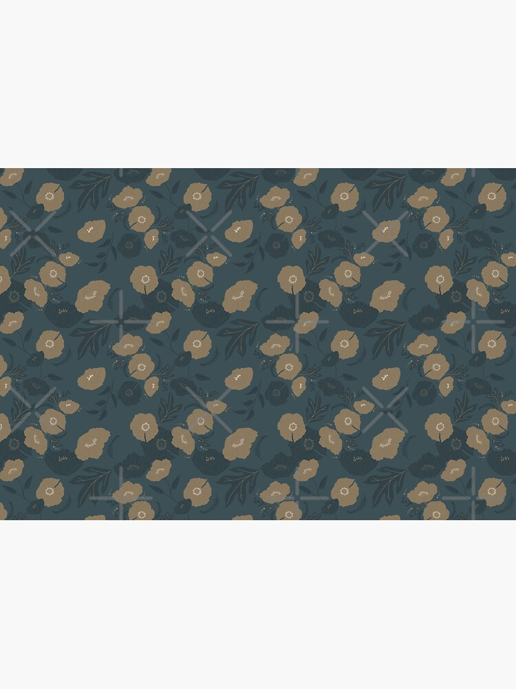 Oxford Blue and Gold poppy flowers pattern by szymonkalle