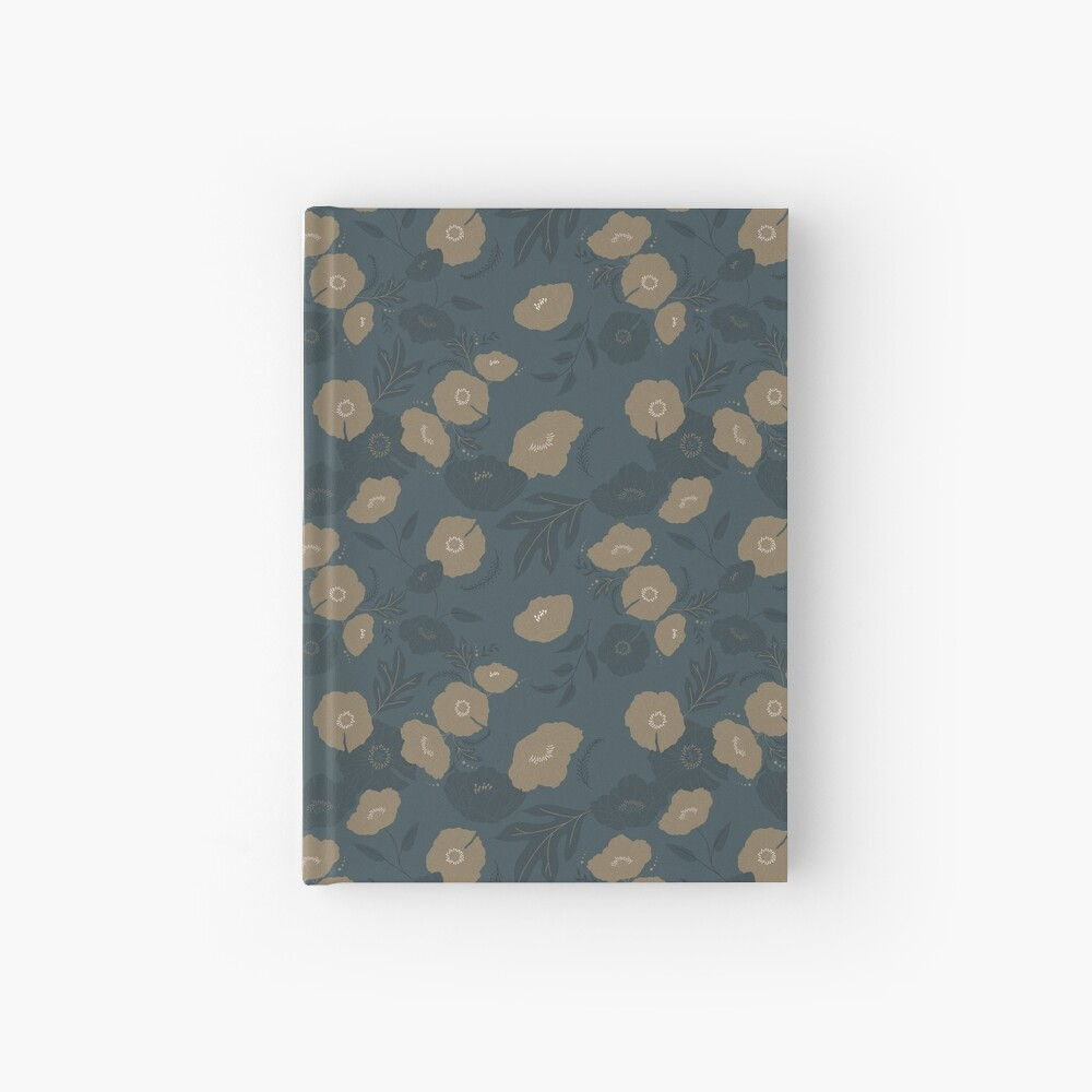 Oxford Blue and Gold poppy flowers pattern Hardcover Journal