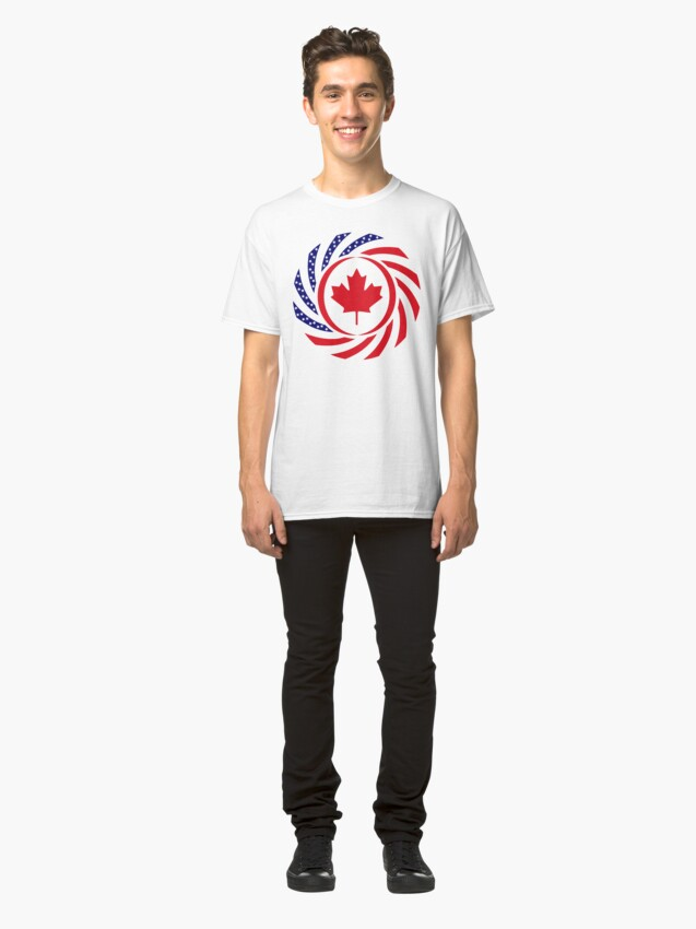 Alternate view of Canadian American Multinational Patriot Flag Series Classic T-Shirt