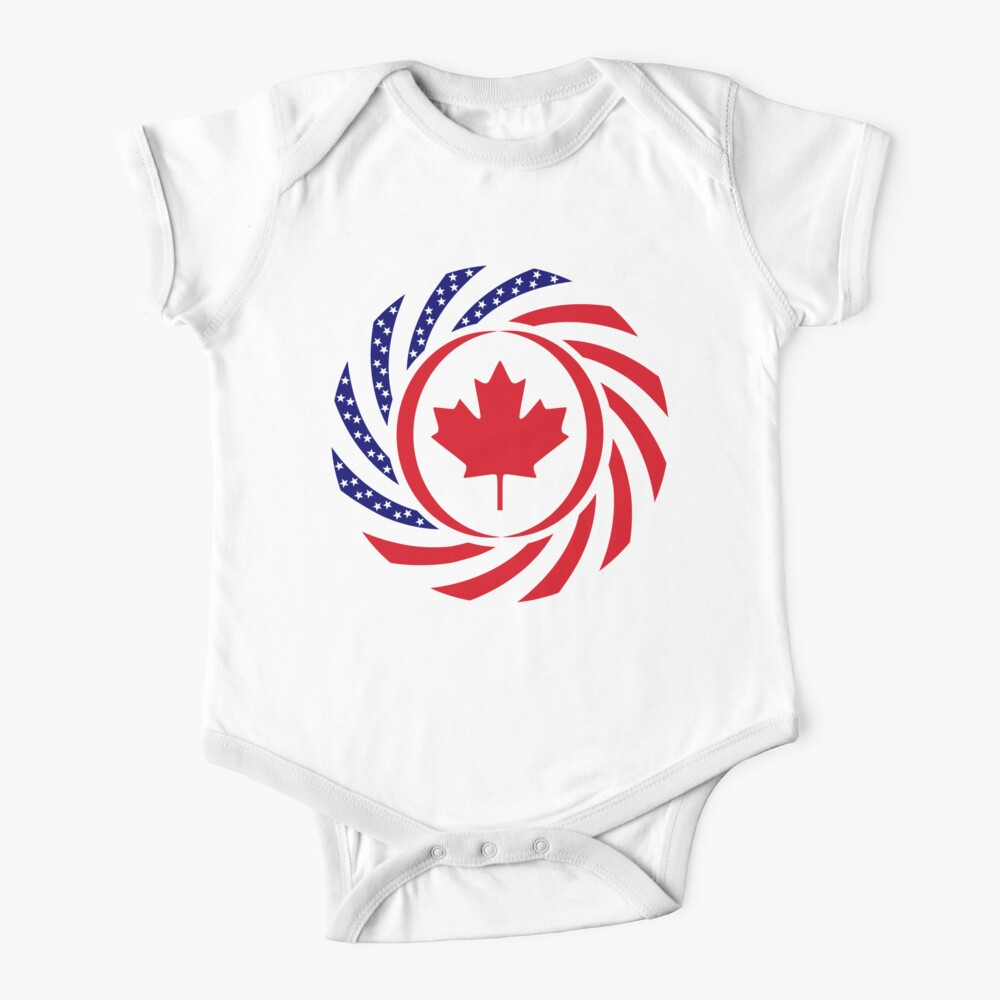 Canadian American Multinational Patriot Flag Series Baby One-Piece