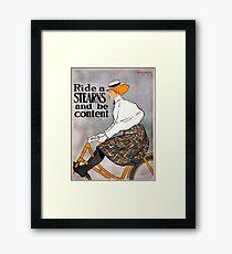 Vintage Stearns Bicycle Advertising Poster Framed Print