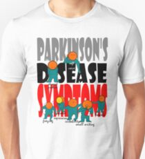 Parkinson's disease symptoms, tremors, freezing of gait, masked expressions, slow movements, bradykinesia, soft voice, micro graphia, small hand writing Unisex T-Shirt