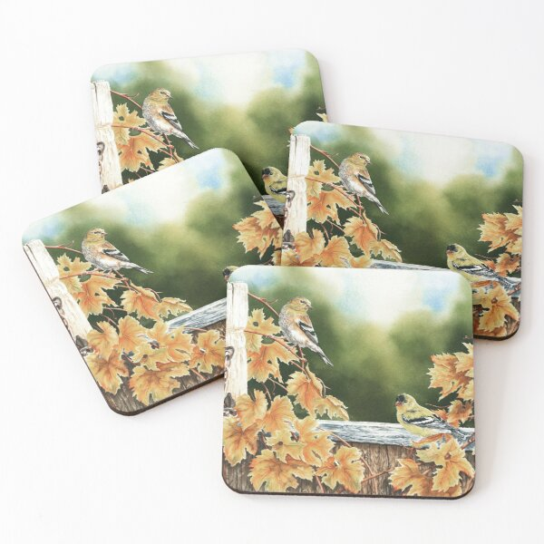 Goldfinch Autumn Watercolor Painting Coasters (Set of 4)