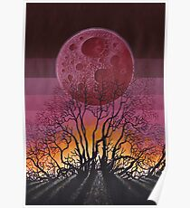 Landscape Red Moon Poster
