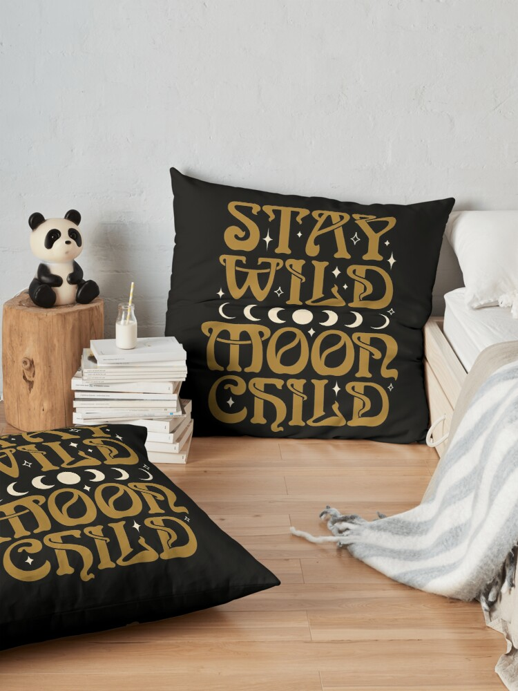 Alternate view of Stay Wild Moon Child {in Black Magic} Floor Pillow