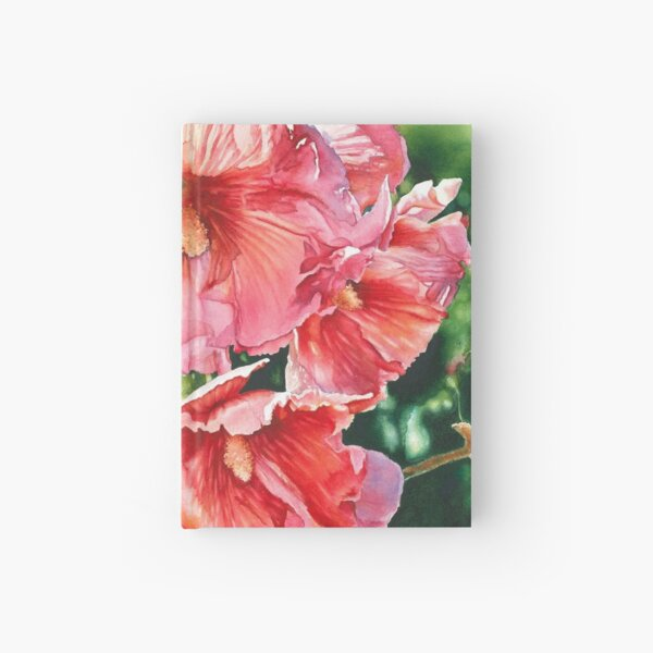 Halo Hollyhock Watercolor Painting  Hardcover Journal