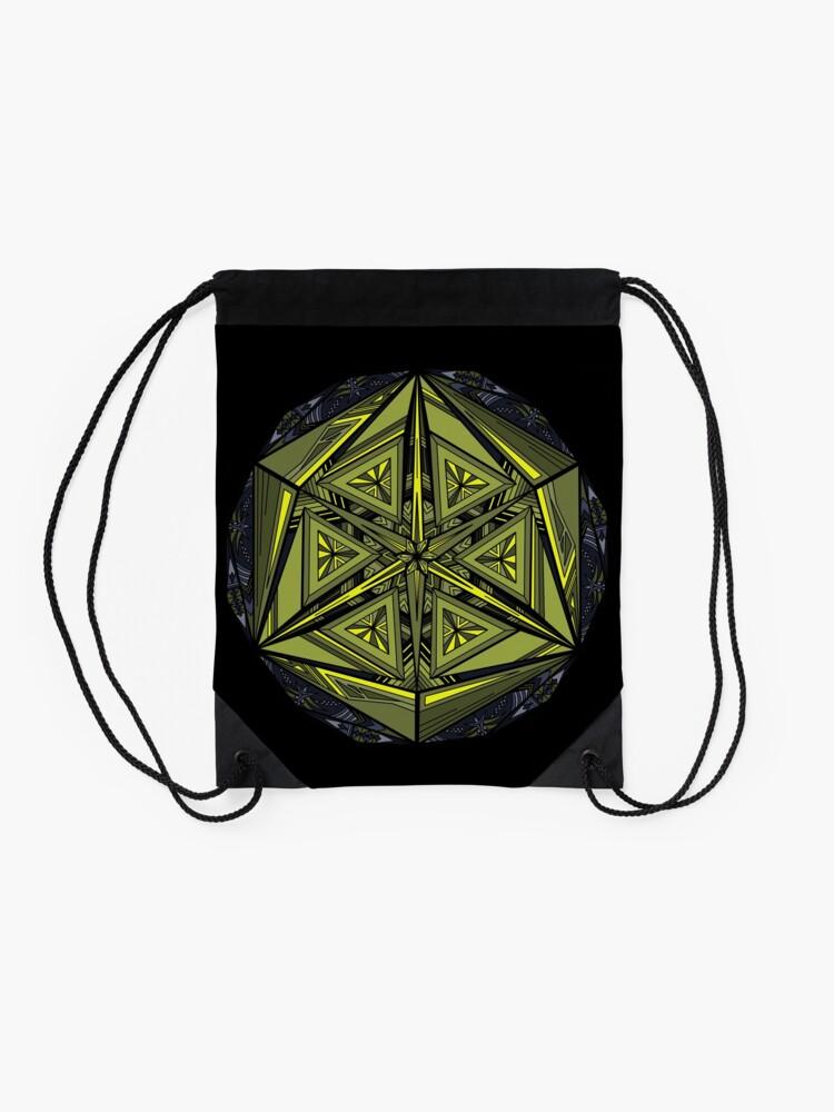 Alternate view of Sticky Weeds Mandala Drawstring Bag