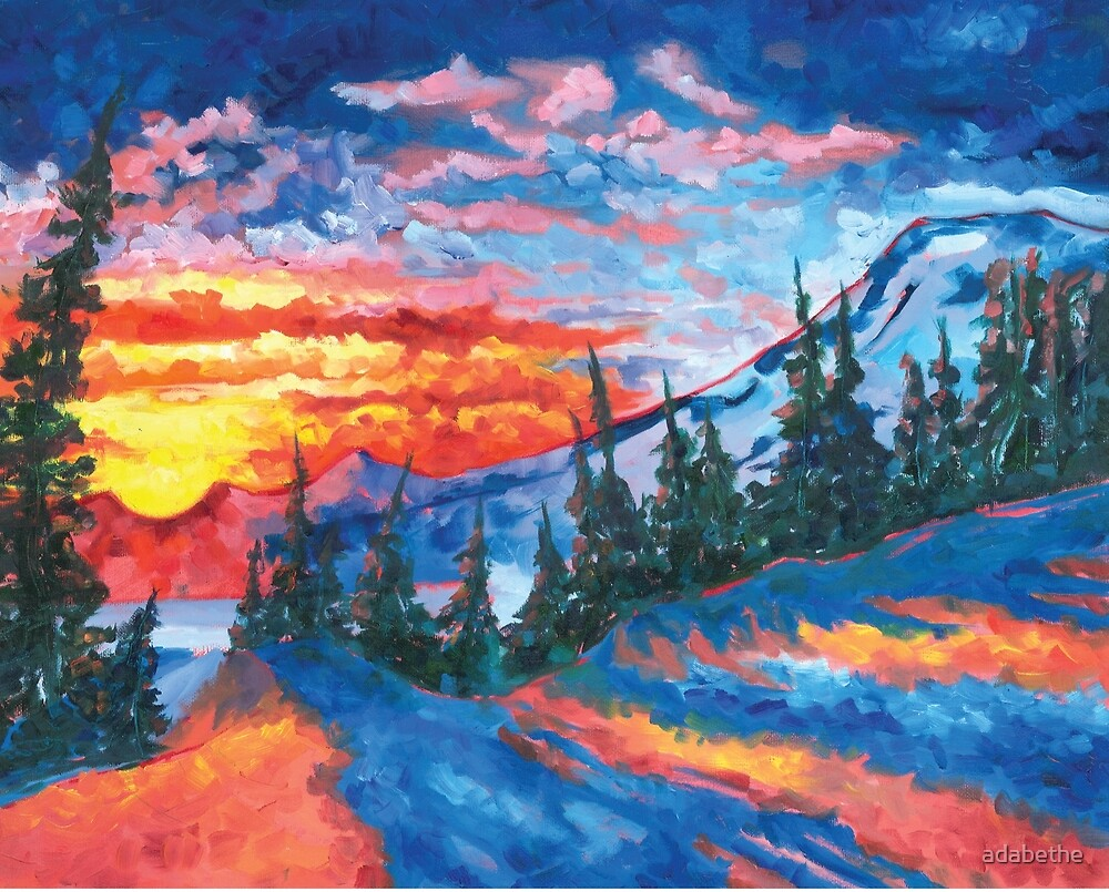 Mountain Sunset - Print from Original Oil Painting by adabethe