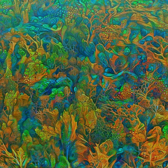 Abstract digital painting of extraterrestrial underwater forest