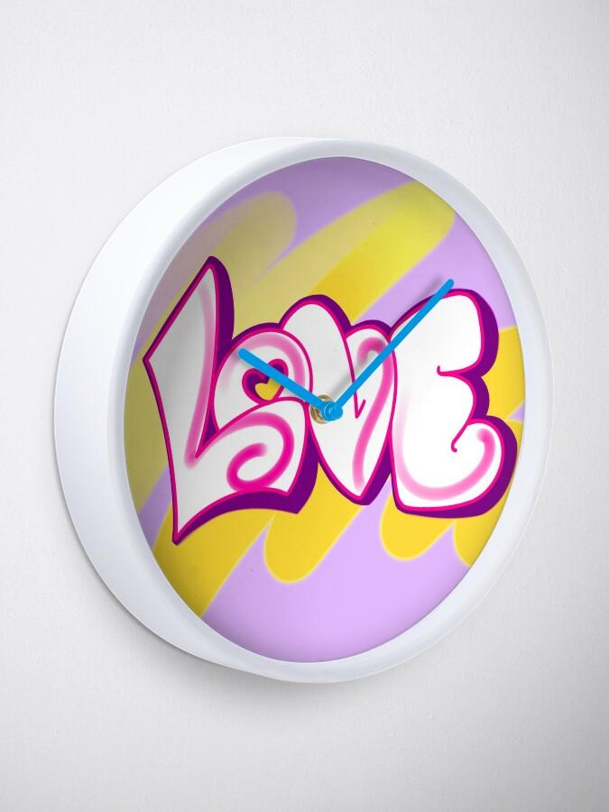 Alternate view of LOVE (graffiti) Clock