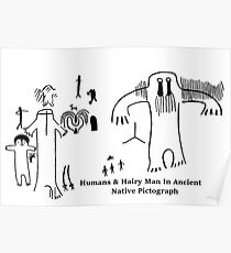 Human & Hairy Man Pictographs Poster