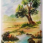 "Watercolor ""Beside the Pond"" by teresa731"