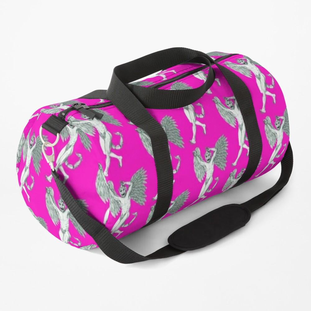 Little Devil Pattern on Pink Duffle Bag