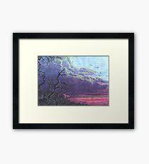 Landscape Purple Blue Sky Framed Print