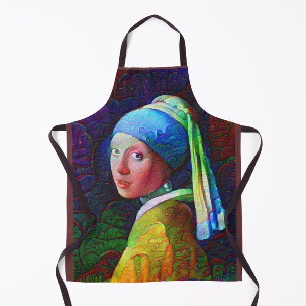 """DeepDreamed """"Girl with a Pearl Earring"""" Apron"""