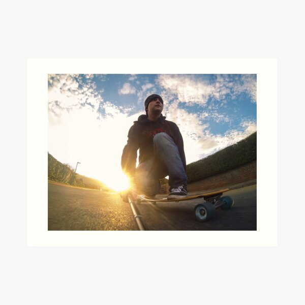 Sunset Longboarding with my GoPro Camera Art Print